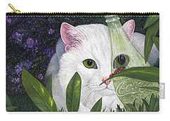 Carry-all Pouch featuring the painting Ladybugs And Cat by Karen Zuk Rosenblatt