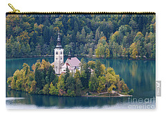 Lake Bled Island - Pilgrimage Church Carry-all Pouch by Phil Banks