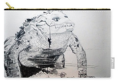 Carry-all Pouch featuring the drawing Landing by Lazaro Hurtado