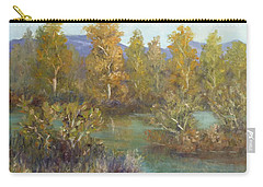 Landscape River And Trees Paintings Carry-all Pouch