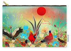 Landscapes With Birds And Red Sun - Limited Edition Of 15 Carry-all Pouch