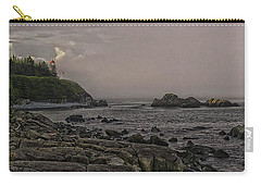 Carry-all Pouch featuring the photograph Late Afternoon Sun On West Quoddy Head Lighthouse by Marty Saccone