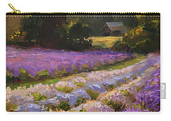 Lavender Farm Landscape Painting - Barn And Field At Sunset Impressionism  Carry-all Pouch