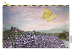 Lavender Field Pink And Blue Sunset And Yellow Butterfly Carry-all Pouch
