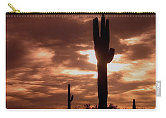 Carry-all Pouch featuring the photograph Lawless Frontier Homage 1935 Saguaro Forest by David Lee Guss