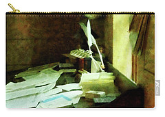 Carry-all Pouch featuring the photograph Lawyer - Desk With Quills And Papers by Susan Savad