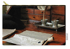 Carry-all Pouch featuring the photograph Lawyer - Quill Papers And Pipe by Susan Savad