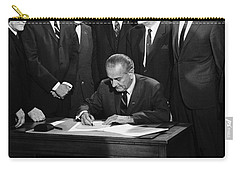 Lbj Signs Civil Rights Bill Carry-all Pouch by Underwood Archives Warren Leffler