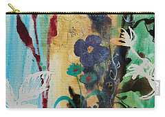 Carry-all Pouch featuring the painting Leaf Flower Berry by Robin Maria Pedrero