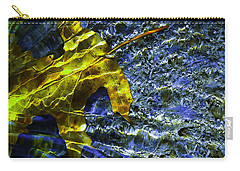 Leaf In Creek - Blue Abstract Carry-all Pouch