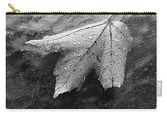 Leaf On Glass Carry-all Pouch by John Schneider