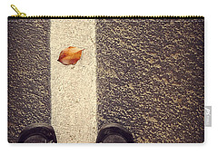 Carry-all Pouch featuring the photograph Leaf On The Line by Meghan at FireBonnet Art