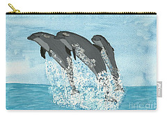 Carry-all Pouch featuring the painting Leaping Dolphins by Tracey Williams