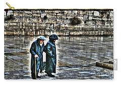 Carry-all Pouch featuring the photograph Leaving The Western Wall In Israel by Doc Braham