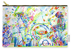 Led Zeppelin Live Concert - Watercolor Painting Carry-all Pouch by Fabrizio Cassetta
