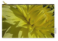 Carry-all Pouch featuring the photograph Lemon Yellow Dahlia  by Susan Garren