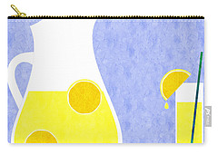 Lemonade And Glass Blue Carry-all Pouch by Andee Design