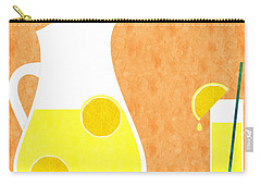 Lemonade And Glass Orange Carry-all Pouch by Andee Design