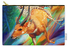 Carry-all Pouch featuring the painting Leopard Attack by Rob Corsetti