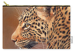 Leopard Portrait Carry-all Pouch by David Stribbling