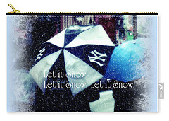 Let It Snow - Happy Holidays - Ny Yankees Holiday Cards Carry-all Pouch