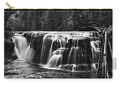 Lewis River Lower Falls Black And White Carry-all Pouch