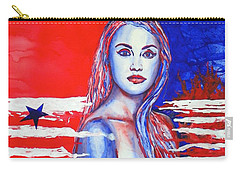 Carry-all Pouch featuring the painting Liberty American Girl by Anna Ruzsan