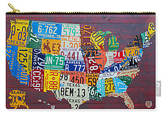 License Plate Map Of The United States Carry-all Pouch by Design Turnpike