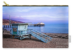 Lifeguard Tower And Malibu Beach Pier Seascape Fine Art Photograph Print Carry-all Pouch