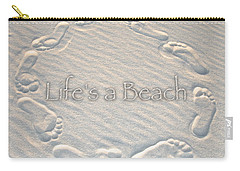 Lifes A Beach With Text Carry-all Pouch by Charlie and Norma Brock