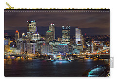 Light Up Night Pittsburgh 3 Carry-all Pouch by Emmanuel Panagiotakis