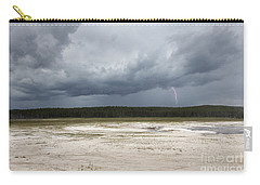 Carry-all Pouch featuring the photograph Lightening At Yellowstone by Belinda Greb
