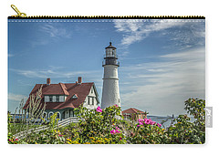 Lighthouse And Wild Roses Carry-all Pouch