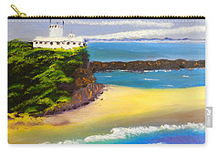 Carry-all Pouch featuring the painting Lighthouse At Nobbys Beach Newcastle Australia by Pamela  Meredith