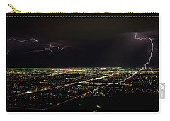 Lightning In The Sky Over A City Carry-all Pouch by Panoramic Images