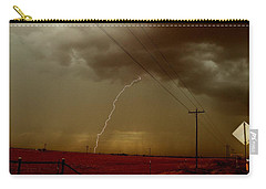Lightning Strike In Oil Country Carry-all Pouch by Ed Sweeney