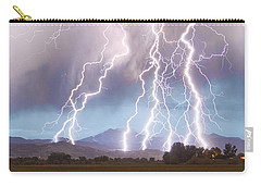 Lightning Striking Longs Peak Foothills 4c Carry-all Pouch