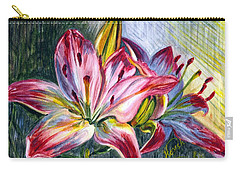Carry-all Pouch featuring the painting Lilies Twin by Harsh Malik