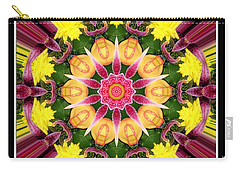 Lily And Chrysanthemums Flower Kaleidoscope Carry-all Pouch by Rose Santuci-Sofranko