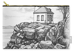 Carry-all Pouch featuring the drawing Lime Kiln Lighthouse by Kim Lockman