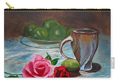 Carry-all Pouch featuring the painting Limes And Roses by Jenny Lee