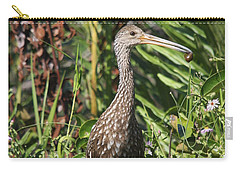 Carry-all Pouch featuring the photograph Limpkin With An Apple Snail by Christiane Schulze Art And Photography