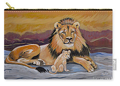 Carry-all Pouch featuring the painting Lion And Cub by Phyllis Kaltenbach