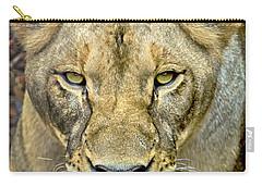 Lion Closeup Carry-all Pouch by David Millenheft
