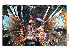 Carry-all Pouch featuring the photograph Lion Fish - En Garde by Amy McDaniel