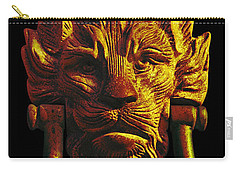 Lion Head Antique Door Knocker In Black And Gold Carry-all Pouch by Jane McIlroy