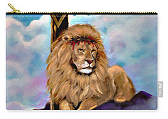 Carry-all Pouch featuring the painting Lion Of Judah At The Cross by Bob and Nadine Johnston