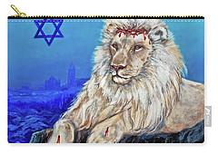 Carry-all Pouch featuring the painting Lion Of Judah - Jerusalem by Bob and Nadine Johnston