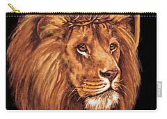 Carry-all Pouch featuring the painting Lion Of Judah - Menorah by Bob and Nadine Johnston