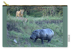 Pair Of Lions Stalking Hippo Carry-all Pouch